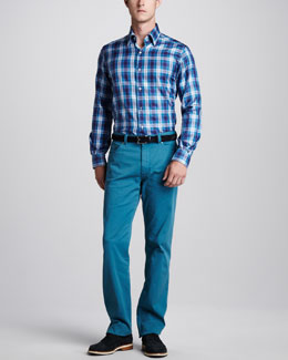 Ermenegildo Zegna Bold Plaid Sport Shirt & Stretch-Twill Five-Pocket Pants