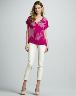 Halston Heritage Printed Short-Sleeve Georgette Top & Ponte/Leather Combo Pants