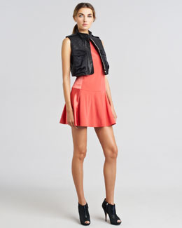 Rag & Bone Highclare Satin-Pocket Leather Vest & Sofia Bi-Fabric Flounce Dress