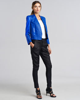 Helmut Lang Varnish Jacquard Blazer, Vena Slouchy Panel T-Shirt & Lacquered Cotton-Blend Pants