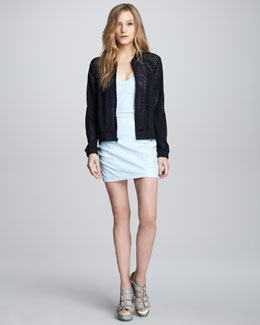 Nanette Lepore Club Queen Perforated Bomber Jacket & Wild Child Ruched Leather Dress