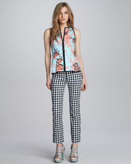 Nanette Lepore Bombastic Printed Zip Top & Love Parade Gingham Pants
