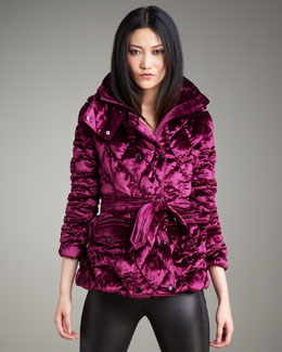 Burberry London Silky Velvet Puffer Jacket