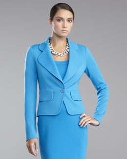 St. John Collection Milano Knit One-Button Jacket, Peacock Blue