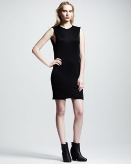 T by Alexander Wang Drape-Back Pique Dress, Black