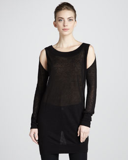Donna Karan Cold-Shoulder Tunic, Black