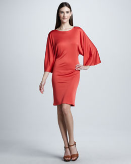 Ralph Lauren Black Label Full-Sleeve Silky Dress, Coral