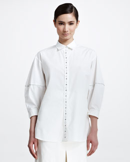 Bottega Veneta Stud-Button Poplin Blouse, White