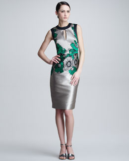 Lela Rose Placed-Print Twill Sheath Dress