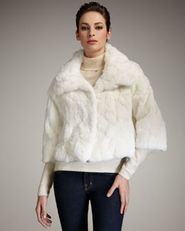Adrienne Landau Cropped Rabbit Fur Jacket