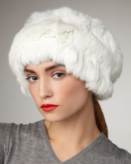 Adrienne Landau Rabbit Fur Head- & Neck-Warmer, Ivory