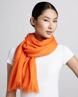 Neiman Marcus Ultra Lightweight Cashmere Stole, Orange