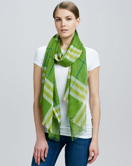Burberry Giant Check Gauze Scarf, Bright Clover
