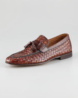 Magnanni for Neiman Marcus Woven Tassel Loafer, Brown