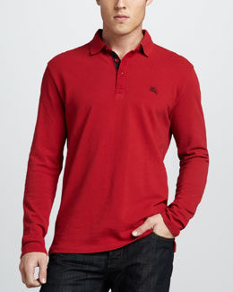 Burberry Brit Check-Placket Jersey Polo, Military Red