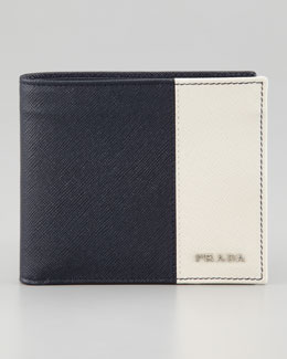 Prada Saffiano Leather Bi-Fold Wallet, Blue/White