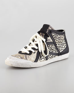 Just Cavalli Snake-Embossed Hi-Top Sneaker