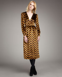 MARC by Marc Jacobs Jagz Chevron-Stripe Velvet Dress