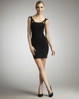 Herve Leger Crisscross-Strap Bandage Dress, Black