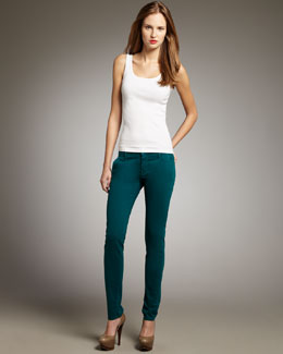 Mother Denim The Looker Skinny Twill Pants, Jade