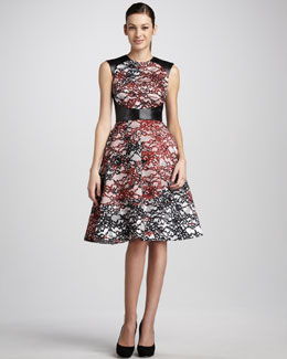 Monique Lhuillier Leather-Bodice Lace Dress