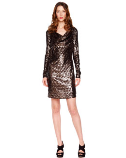 MICHAEL Michael Kors Drape-Neck Sequin Dress
