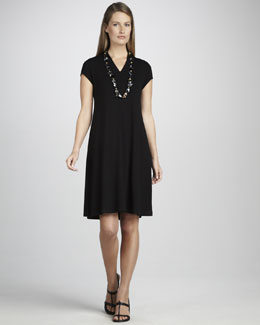 Eileen Fisher V-Neck Cap-Sleeve Jersey Dress