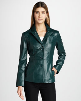 Neiman Marcus Basic Leather Blazer