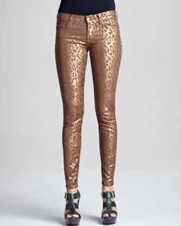 7 For All Mankind Skinny Copper Cheetah-Print Jeans