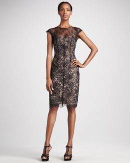ML Monique Lhuillier Animal-Print Taffeta Cocktail Dress