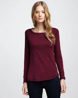 NM Luxury Essentials Cotton-Cashmere Crewneck Long-Sleeve Tee
