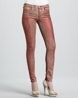 True Religion Halle Red Metallic Legging Jeans