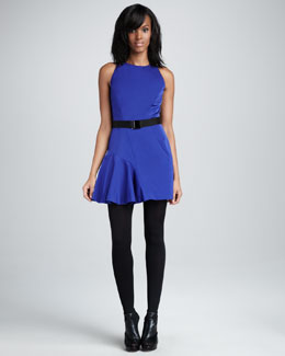 Milly Saxon Belted Satin-Panel Dress