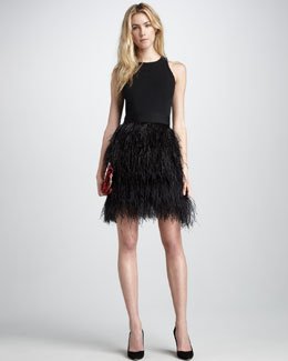 Milly Sasha Feather-Skirt Dress