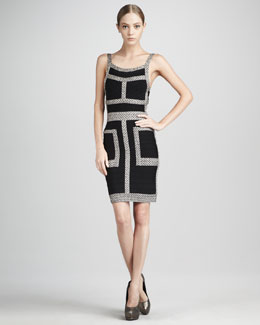 Herve Leger Pattern-Trim Bandage Dress