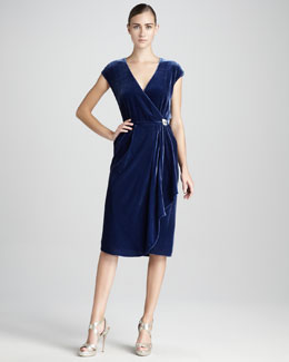 Magaschoni Velvet Wrap Dress