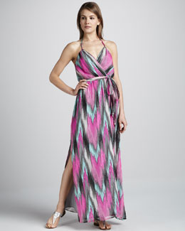 Milly Shimmery Ikat-Print Maxi Dress