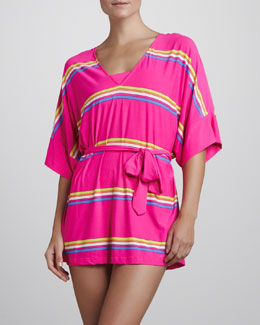 Juicy Couture Miss Divine V-Neck Striped Coverup, Ultra Fuchsia