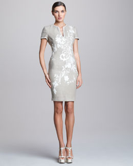 Naeem Khan Embroidered Linen Dress