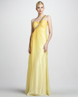 La Femme Boutique Beaded-Strap One-Shoulder Gown