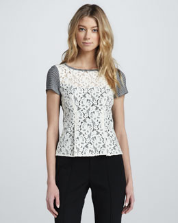 Nanette Lepore Grand Entry Lace Combo Top