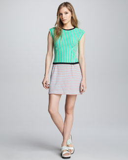 Nanette Lepore Go Crazy Mixed-Knit Dress