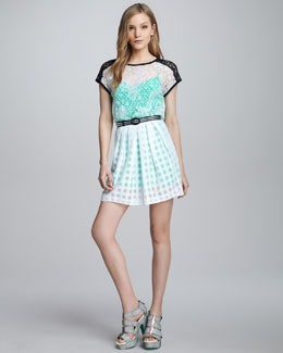 Nanette Lepore Just Dance Belted Lace Dress