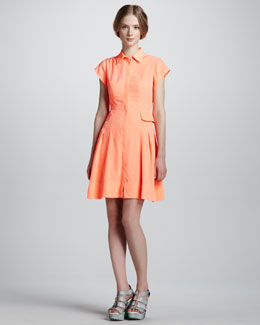 Nanette Lepore Flawless Pleated Shirtdress, Coral