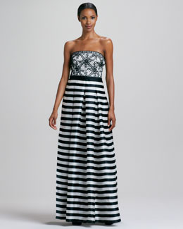 Kay Unger New York Strapless Striped Gown