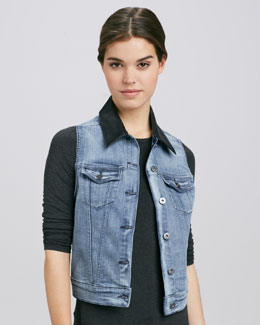 DL 1961 Premium Denim Rizzo Rush Leather-Collar Denim Vest