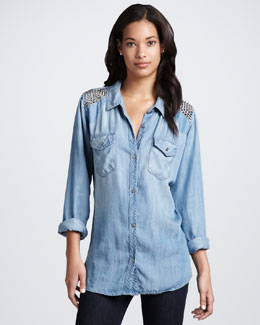 Rails Rylan Stud-Shoulder Chambray Top