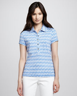 Tory Burch Zigzag Pique Polo Shirt