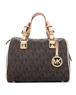 MICHAEL Michael Kors  Medium Grayson Logo Satchel, Brown Logo
