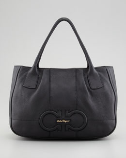 Salvatore Ferragamo Izzie Gancini-Embossed Tote Bag, Black